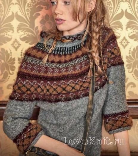 Как связать спицами свитер с жаккардовой кокеткой