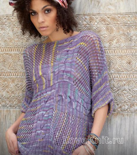Как связать спицами свободный пуловер с ажурным узором из кос