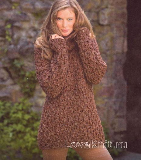 Как связать спицами свободный пуловер с большим воротником