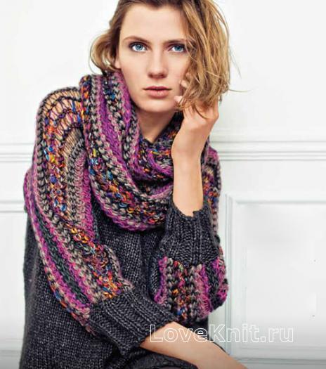 Как связать спицами свободный пуловер с цветными рукавами и шарф-хомут