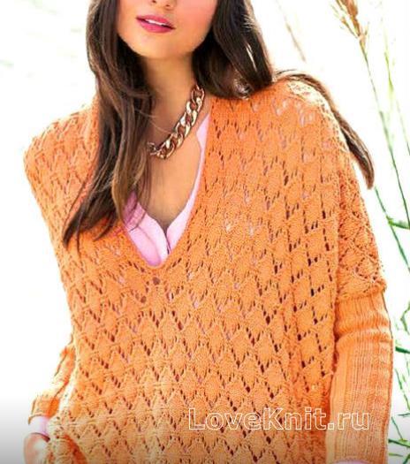Как связать спицами свободный пуловер с глубоким вырезом