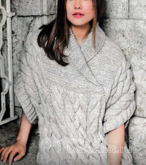 Как связать спицами свободный пуловер с крупными косами