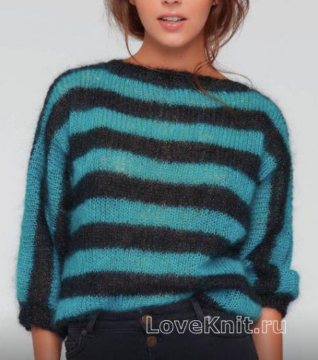 Как связать спицами свободный пуловер в полоску с рукавом реглан