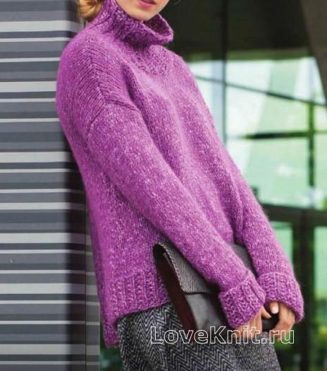 Как связать спицами свободный свитер с удлиненной спинкой
