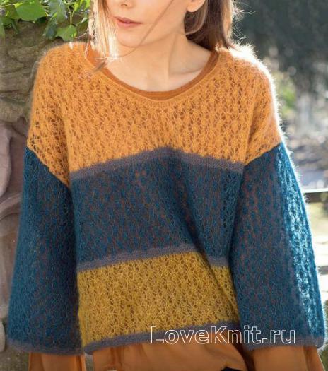 Как связать спицами свободный укороченный трехцветный пуловер
