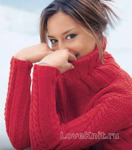 Как связать спицами теплый пуловер со съемным воротником