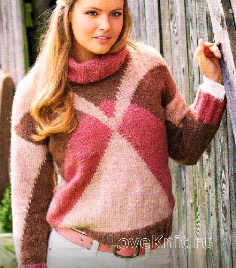 Как связать спицами теплый свитер с графическим рисунком