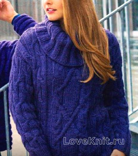 Как связать спицами теплый свитер с объемным воротом