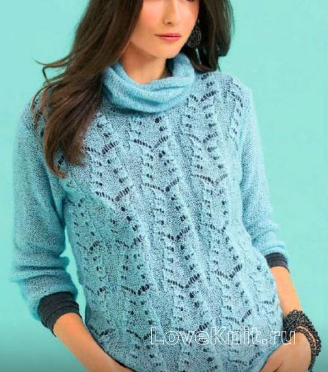 Как связать спицами удлиненный ажурный пуловер с воротником-хомут