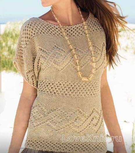 Как связать спицами удлиненный бежевый пуловер с узором