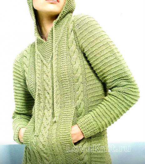 Как связать спицами удлиненный пуловер с карманами и капюшоном