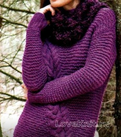 Как связать спицами удлиненный пуловер с косами и мохеровый снуд
