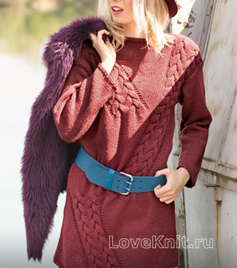 Как связать спицами удлиненный пуловер с крупными косами