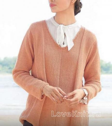 Как связать спицами удлиненный пуловер-оверсайз с v-образным вырезом