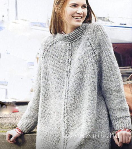 Как связать спицами удлиненный пуловер-пончо с рукавом реглан