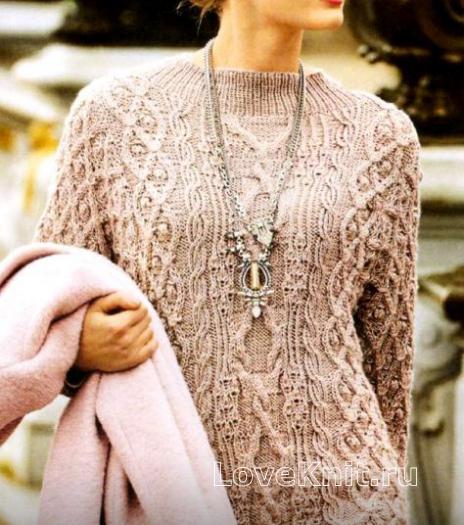 Как связать спицами удлиненный пуловер с рукавами «летучая мышь»