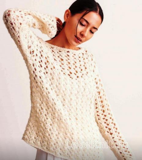 Как связать спицами удлиненный пуловер с сетчатым рисунком