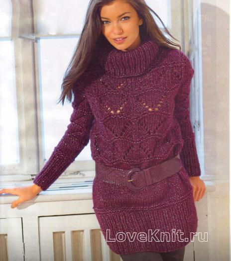 Как связать спицами удлиненный пуловер с широким воротником и ажурным узором