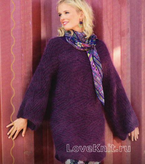 Как связать спицами удлиненный пуловер с широкими рукавами