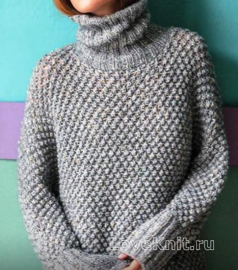 Как связать спицами удлиненный пуловер-туника со звездами