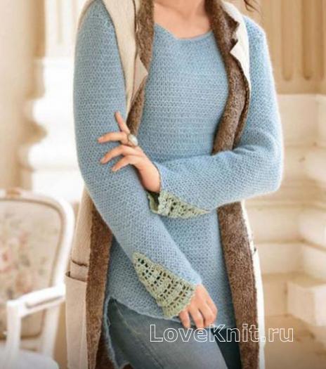 Как связать спицами удлиненный пуловер с закругленными краями