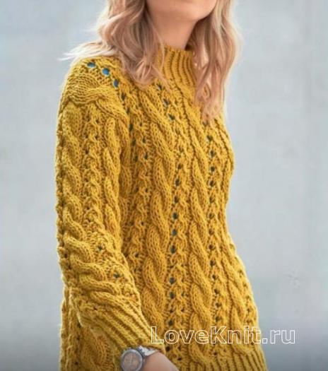 Как связать спицами удлиненный узорчатый пуловер с косами