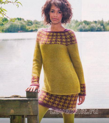 Как связать спицами удлиненный жаккардовый пуловер и мини юбка