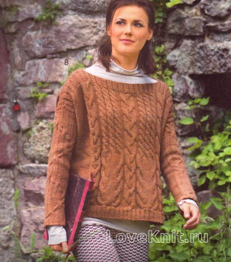 Как связать спицами укороченный коричневый пуловер