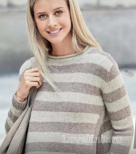 Как связать спицами укороченный полосатый пуловер с разрезами по бокам