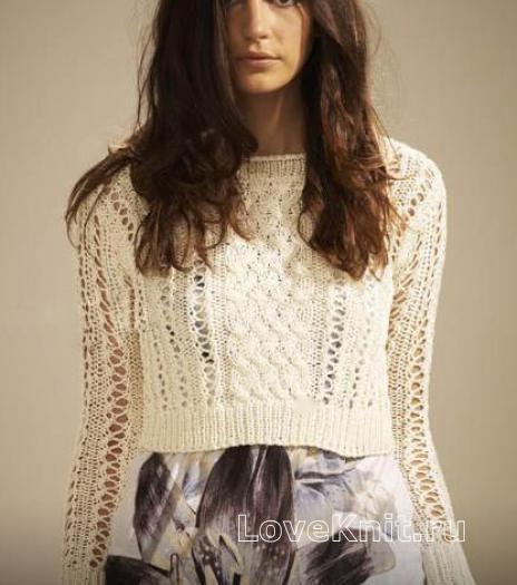 Как связать спицами укороченный пуловер с ажурным узором