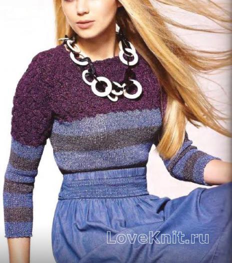 Как связать спицами укороченный пуловер в полоску