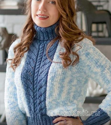 Как связать спицами укороченный свитер с высоким горлом и крупной косой по центру