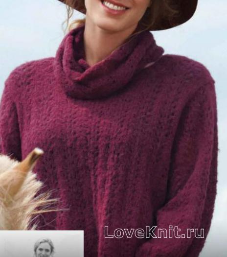 Как связать спицами укороченный свободный свитер с воротником