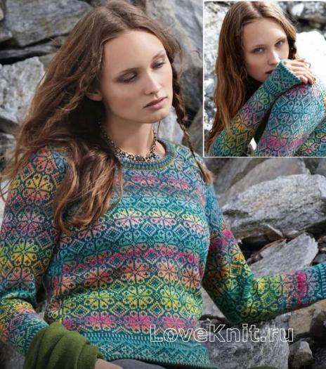 Как связать спицами укороченный жаккардовый пуловер с цветочными мотивами