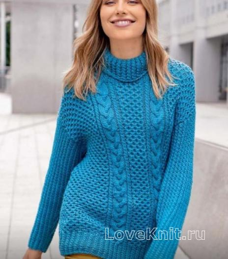 Как связать спицами улиненный свитер с узором из «кос» и «сот»