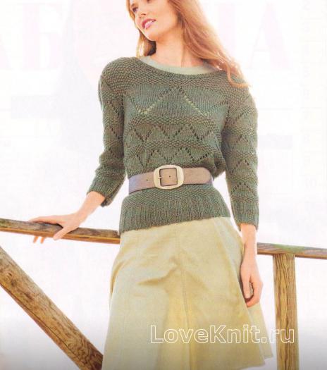 Как связать спицами узорчатый пуловер с круглым воротником