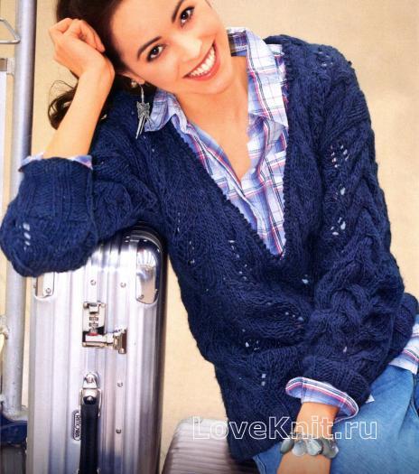 Как связать спицами узорчатый пуловер с v-образным вырезом
