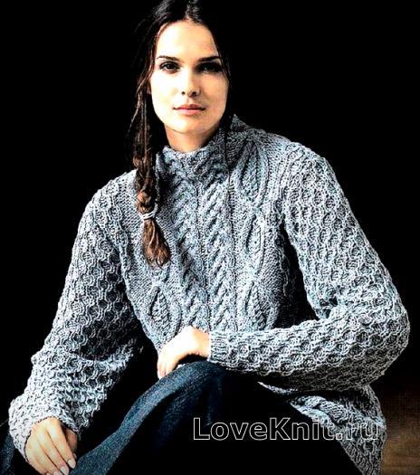 Как связать спицами узорчатый пуловер с воротником-стойкой