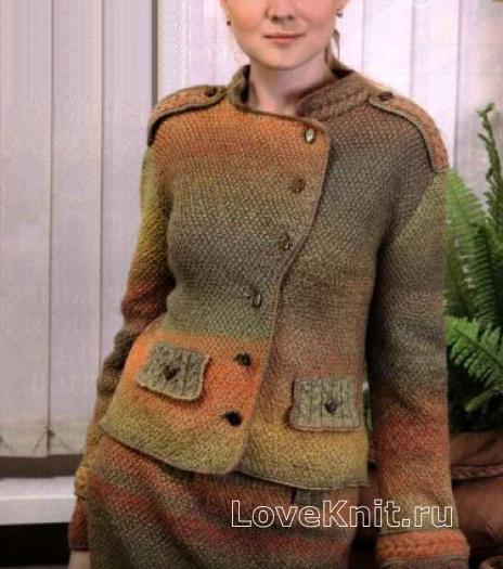 Как связать спицами вязаный костюм из пиджака и юбки