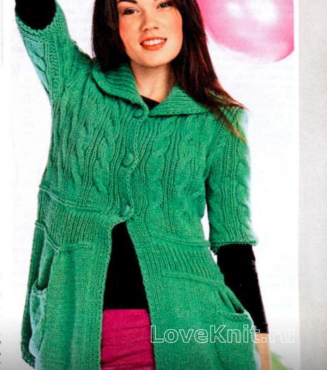 Как связать спицами зеленый жакет с карманами
