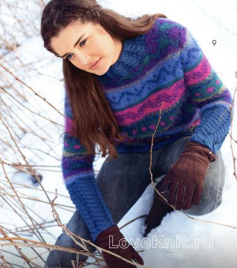 Как связать спицами жаккардовый пуловер с планками из кос