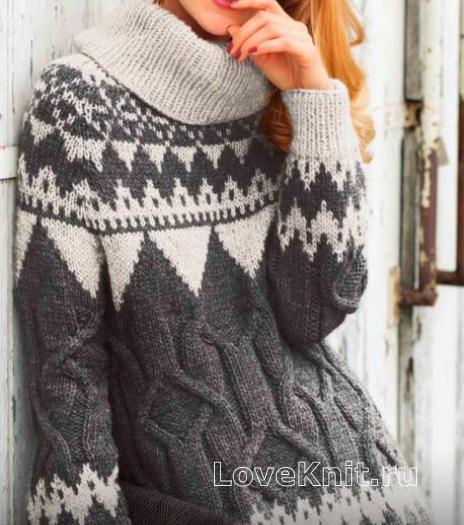 Как связать спицами жаккардовый свитер с большим воротником