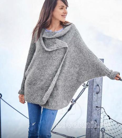 Как связать спицами пальто оверсайз с цельновязаными рукавами