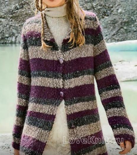 Как связать спицами полосатый жакет-пальто на пуговицах