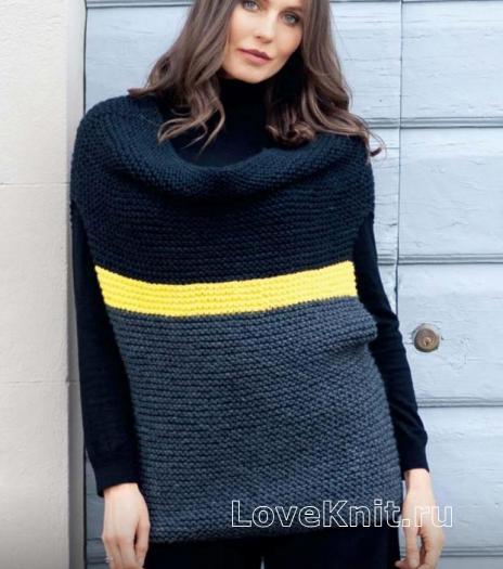 Как связать спицами цветной пуловер-трансформер