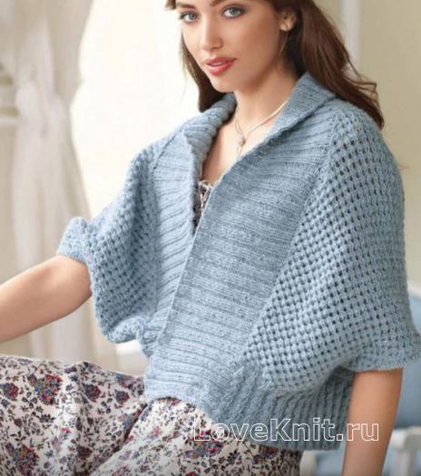 Как связать спицами свободный жилет-кимоно с широкой резинкой