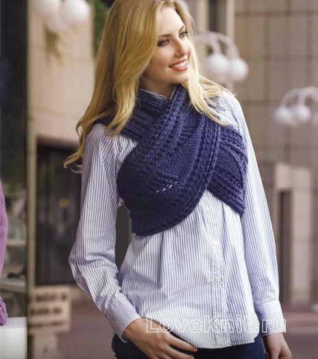 Как связать спицами жилет шарф крест-накрест