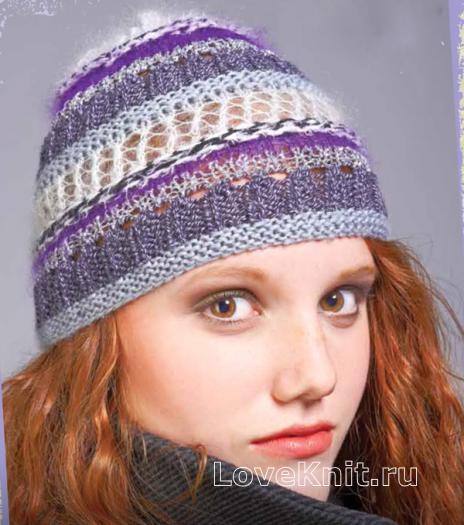 Как связать спицами ажурная полосатая шапочка