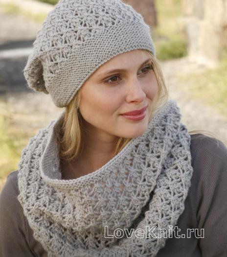 Как связать спицами ажурный шарф-снуд и шапочка