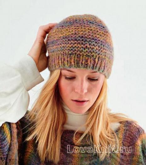 Как связать спицами меланжевая шапка с резинкой
